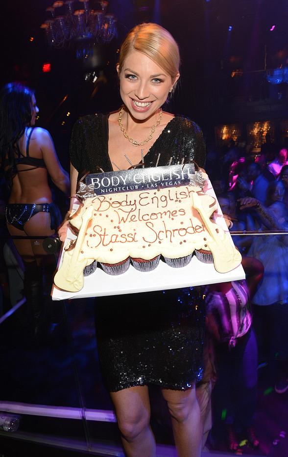 Stassi Schroeder wth cake at Body English Nightclub
