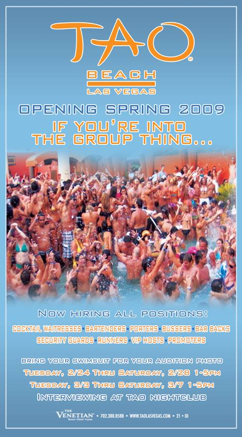 TAO Beach in Las Vegas in hiring for all positions