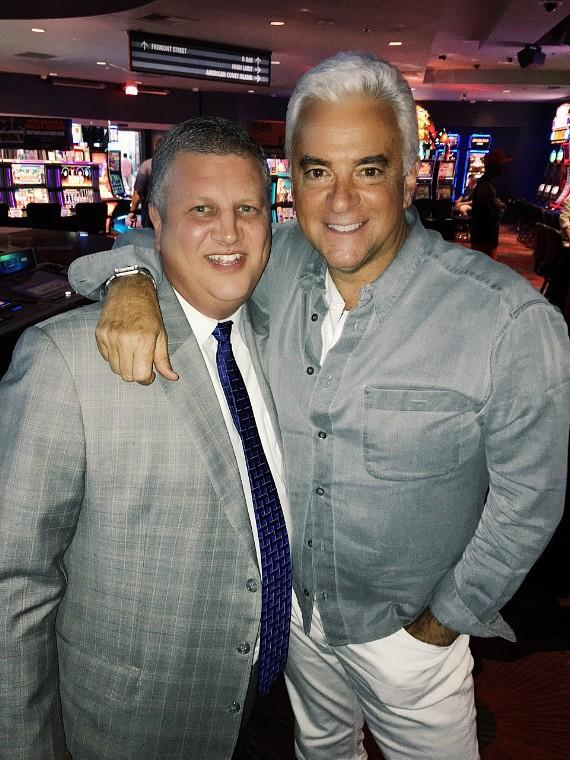 The D Casino Hotel Owner Derek Stevens with actor John O'Hurley at Longbar