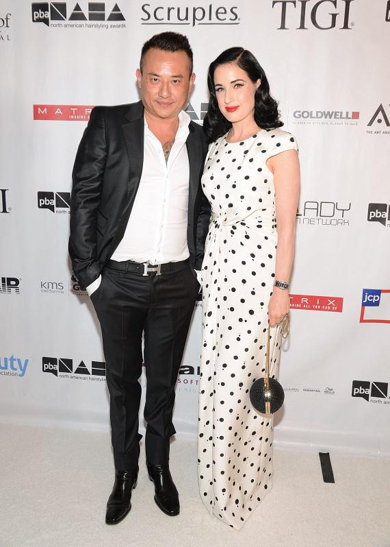 John Blaine with Dita Von Teese at 2013 North American Hairstyling Awards at Mandalay Bay