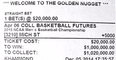 The D owner Derek Stevens stands to win $1 million if Michigan State wins NCAA Tournament