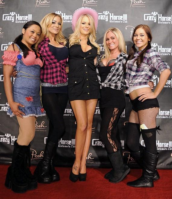"Tiffany Selby and  beautiful cocktail servers at Crazy Horse III's ""Babes & Buckles"" bash"