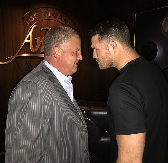 UFC Champ Michael Bisping with the D Casino Owner Derek Stevens at Andiamo Italian Steakhouse Las Vegas
