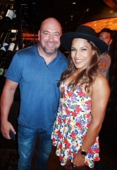 "UFC President Dana White, UFC 200 Champ Julianna ""The Venezuelan Vixen"" Pena and UFC 202 Winner Donald ""Cowboy"" Cerrone party and dine at the D Casino Hotel Las Vegas"