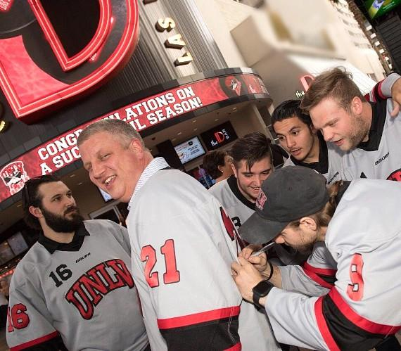 The D Casino Hotel Owner Derek Stevens with UNLV Hockey Team in Las Vegas