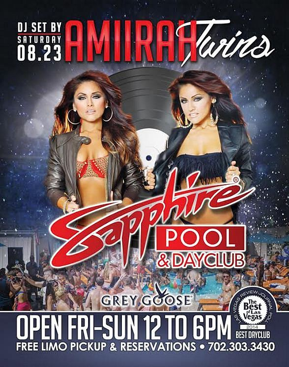 Amiirah Twins to DJ at Sapphire Pool & Day Club Saturday, August 23