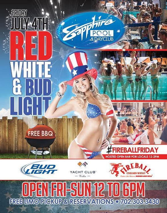 "Celebrate ""Red, White & Bud Light"" at Sapphire Pool & Day Club Friday, July 4"