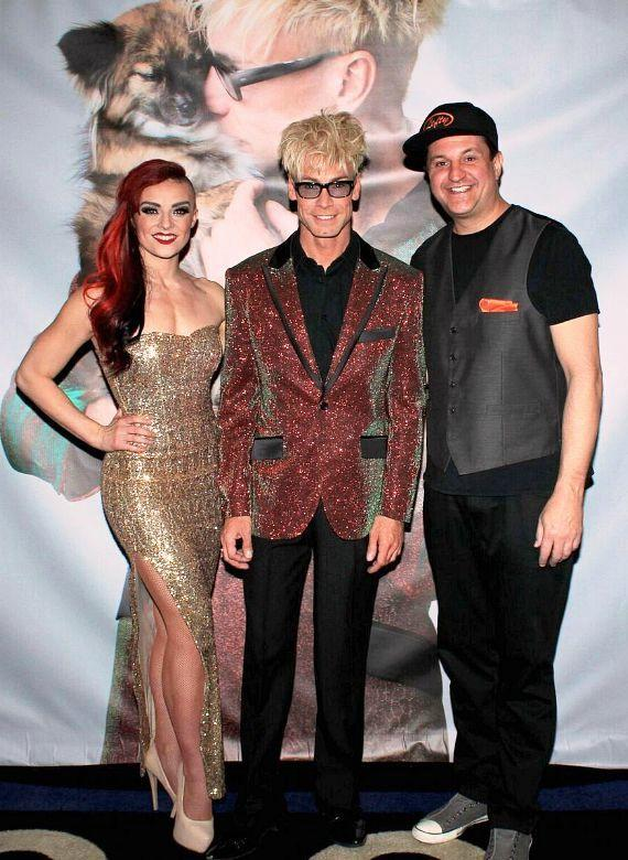 "The cast of MURRAY 'Celebrity Magician' at Planet Hollywood: April Leopardi, Murray SawChuck and Douglas ""Lefty"" Leferovich"