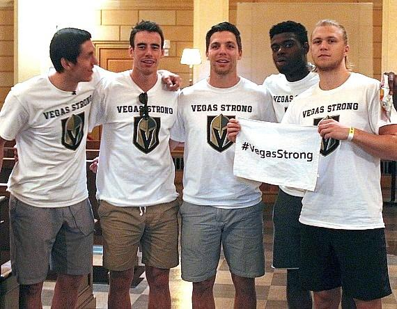 Vegas Golden Knights Players with #VegasStrong T-shirts at the Mob Museum in Las Vegas