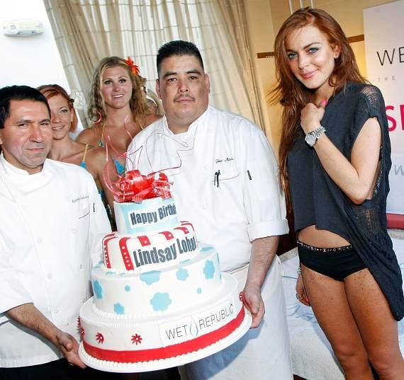 Lindsay Lohan with birthday cake at WET REPUBLIC