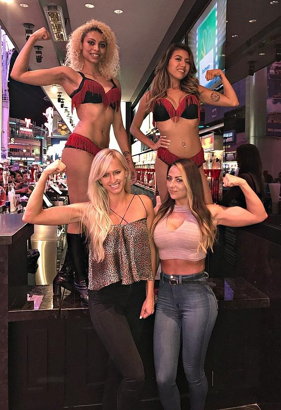 WWE Emma and Summer Rae Flexing with The D Casino Slush Girls Las Vegas