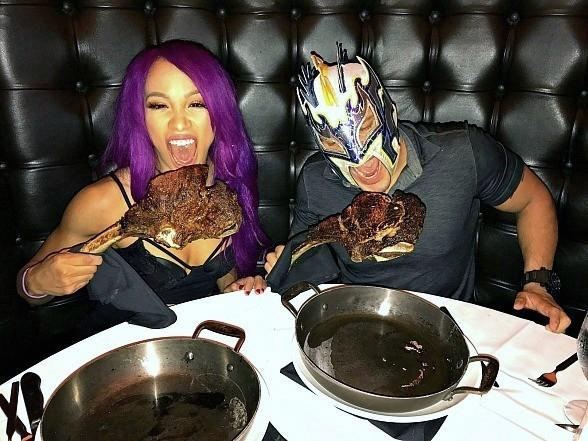 WWE Superstars Sasha Banks and Kalisto Dine at Andiamo Italian Steakhouse Las Vegas
