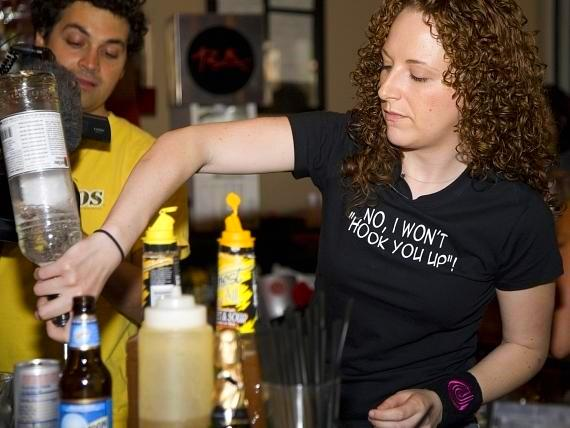 Las Vegas Weekly's Xania Woodman is making a delicious cocktail for a RA Sushi bar guest.