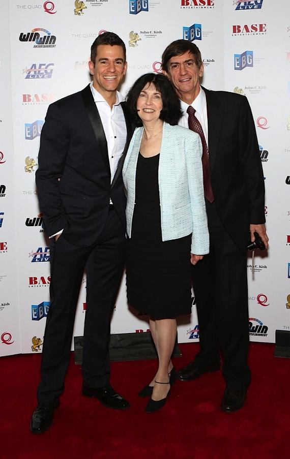 """The Quad Resort & Casino headliner and founder of Win-Win Entertainment Jeff Civillico and his parents walk the red carpet during the """"Headliners Bash"""" at The Quad Resort & Casino"""