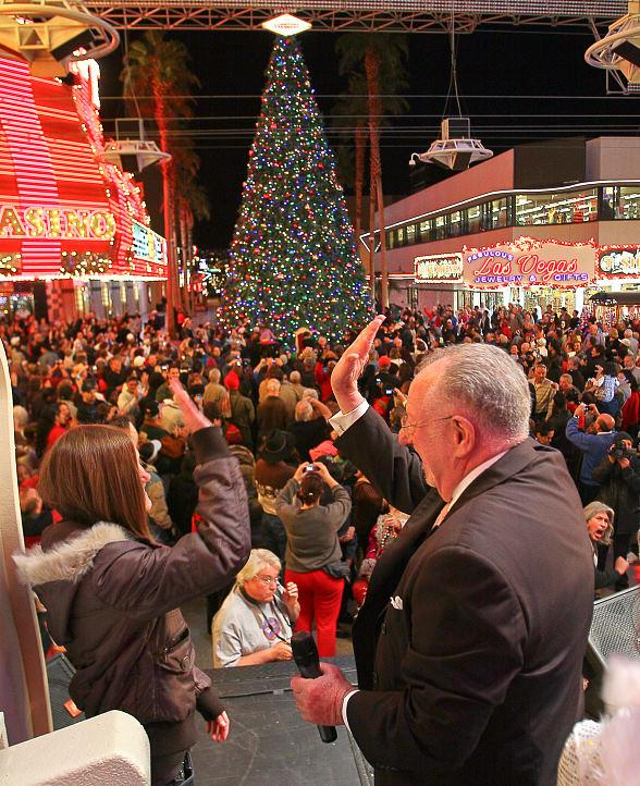 Mayor Oscar B. Goodman flipping the switch to light Las Vegas' official Christmas tree