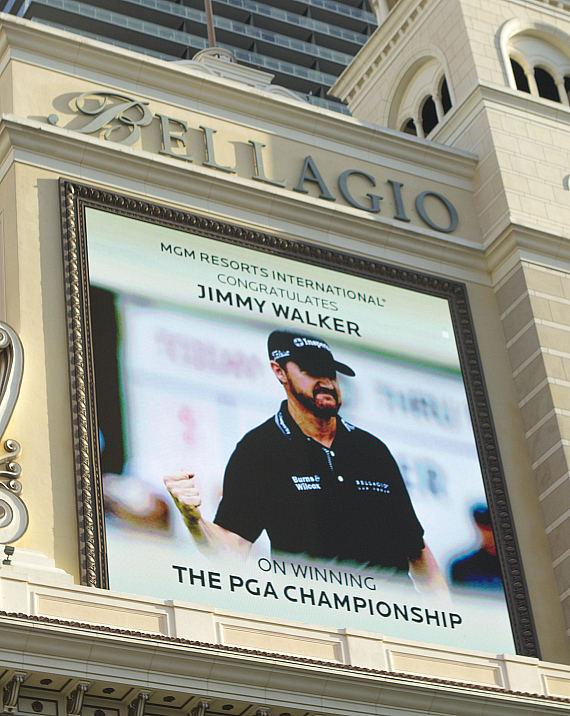 Bellagio Marquee displays congratulations message to Jimmy Walker