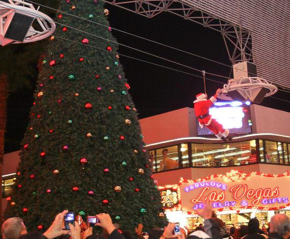Fremont Street Experience had hundreds of people in attendance, as Santa Claus ditched his sleigh and made his grand entrance on the FlightlineZ