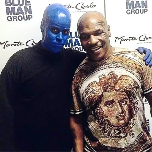 Mike Tyson visits Blue Man Group Las Vegas inside Monte Carlo Resort and Casino