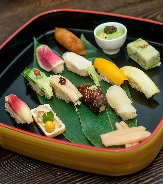 Vegetarian Sushi included in the Vegetarian Omakase tasting menu