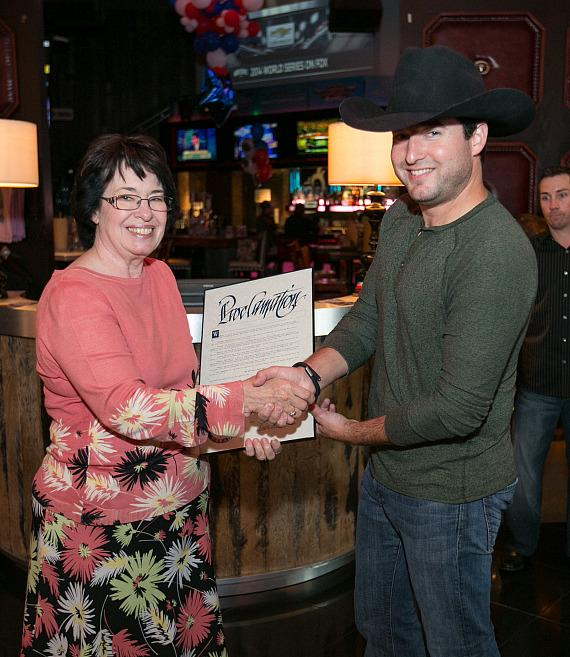 County Commissioner Mary Beth Scow proclaimed Oct. 21, 2014 PBR Rock Bar & Grill Day in Las Vegas in honor of the restaurant's fourth anniversary. After reading the official proclamation, Scow posed for photos along with PBR Rock Bar & Grill owner, Jonathan Fine