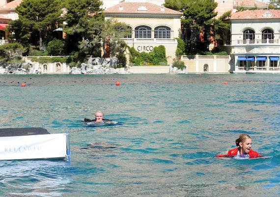 Sir Richard Branson takes an unplanned (or was it?) swim in the Bellagio fountains pool