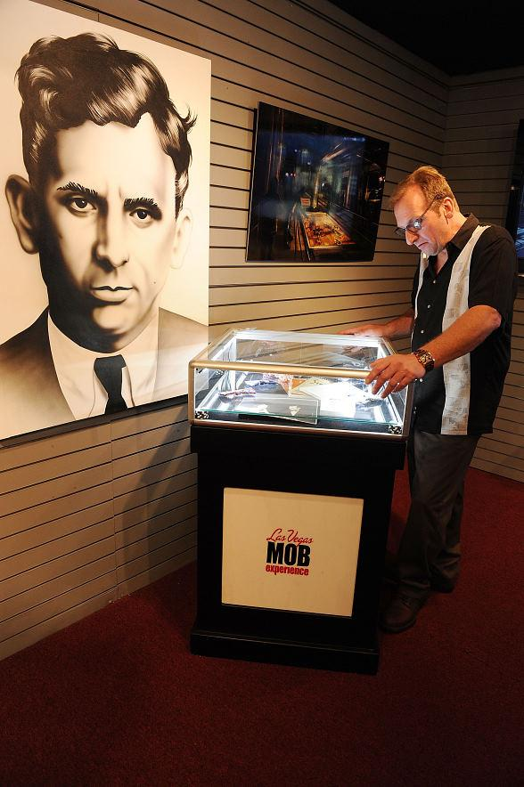 Meyer Lansky II views his grandfather's (Meyer Lansky) artifacts on display at the Las Vegas Mob Experience Preview Center.