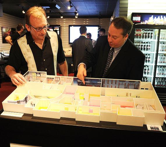 Jay Bloom, managing partner of Murder Inc., and Meyer Lansky II display the floor plan of the Las Vegas Mob Experience, which is set to open December 2010.