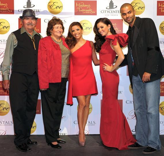 Eva Longoria Parker with her parents, Ella and Enrique Longoria, and husband Tony Parker
