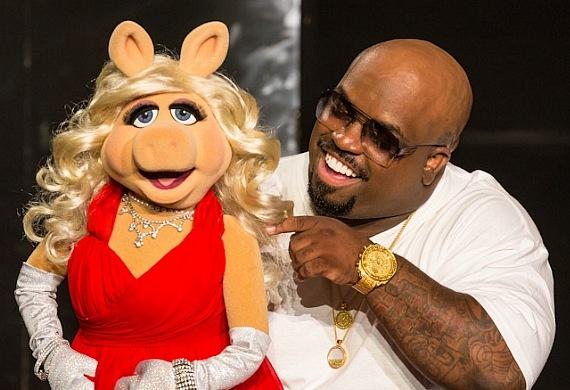 Miss Piggy with CeeLo Green on stage at Planet Hollywood Resort & Casino