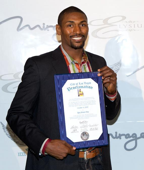 "L.A. Lakers' Ron Artest with ""Ron Artest Day"" proclamation"