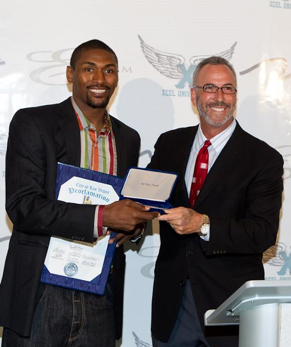 L.A. Lakers' Ron Artest receives Keys to City from City Councilman Steve Wolfson