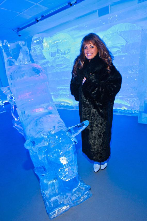 Laura Croft checks out the ice bull at Minus5 Ice Bar