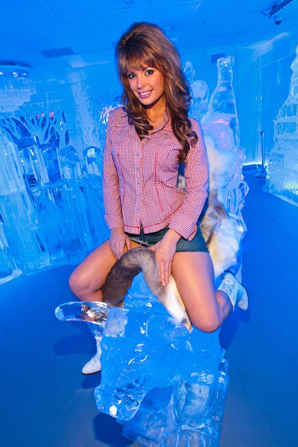Laura Croft rides the ice bull at Minus5 Ice Bar