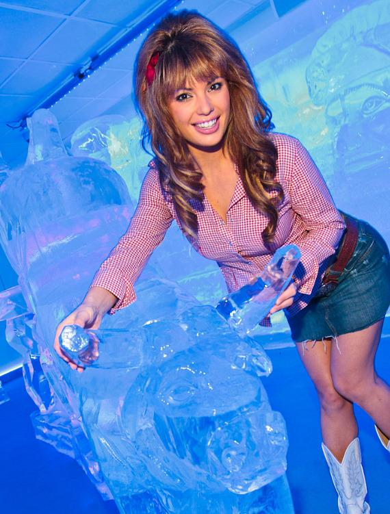 Laura Croft with the ice bull at Minus5 Ice Bar