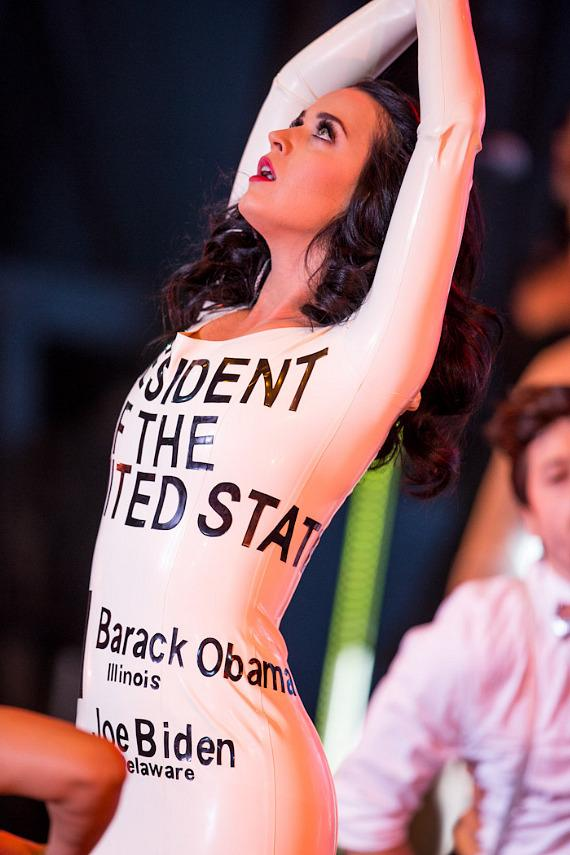 Katy Perry reveals President of the United States dress with ballot marked for President Obama