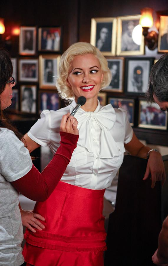 PEEPSHOW star Holly Madison on the set of her photo shoot with Jim Decker for the cover of Luxury Las Vegas at Rao's Caesars Palace in Las Vegas