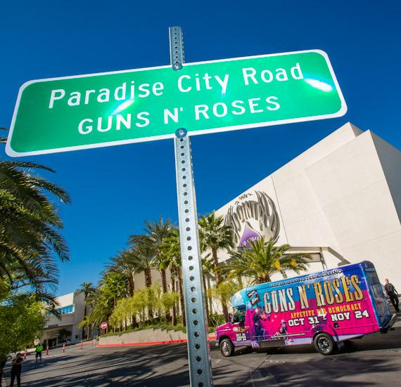 """Paradise City Road"" sign at The Joint"
