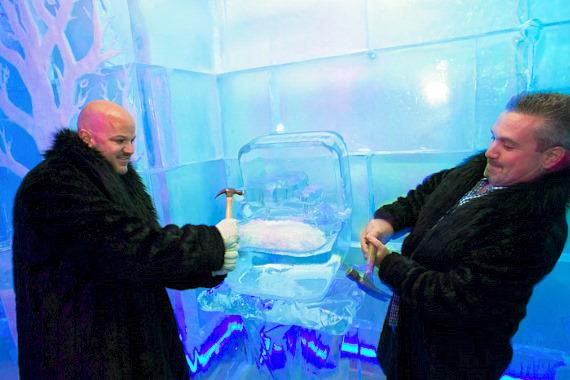 Guests remove the Kardashian Ice Ring at Minus5 Ice Bar in Las Vegas