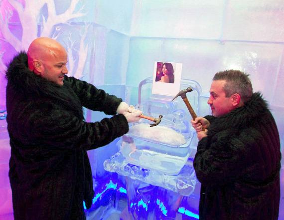 Guest remove the Kardashian Ice Ring at Minus5 Ice Bar in Las Vegas