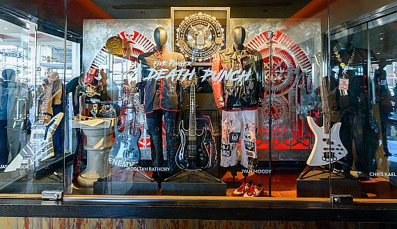 five finger death punch unveils memorabilia case at hard rock hotel casino las vegas. Black Bedroom Furniture Sets. Home Design Ideas