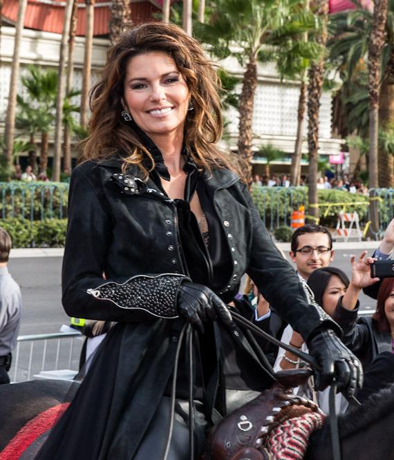 Shania Twain rides to her new home at The Colosseum at Caesars Palace