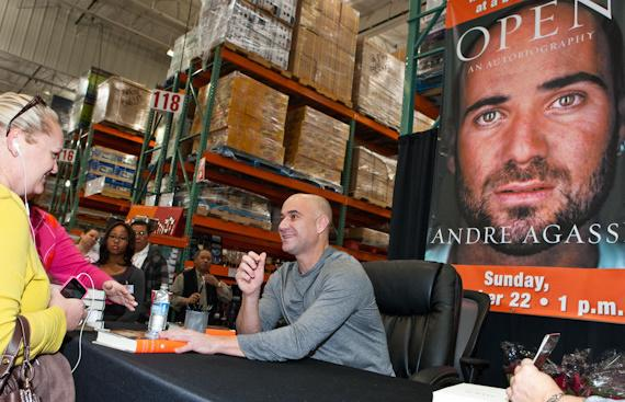Andre Agassi signs copies of Open: An Autobiography at Costco