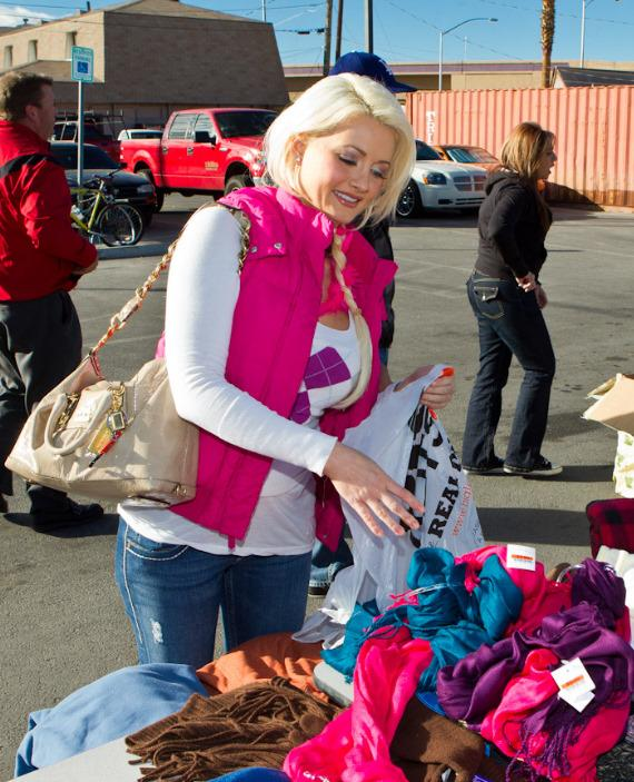 Holly Madison donates blankets and cold weather clothing items at The Las Vegas Rescue Mission
