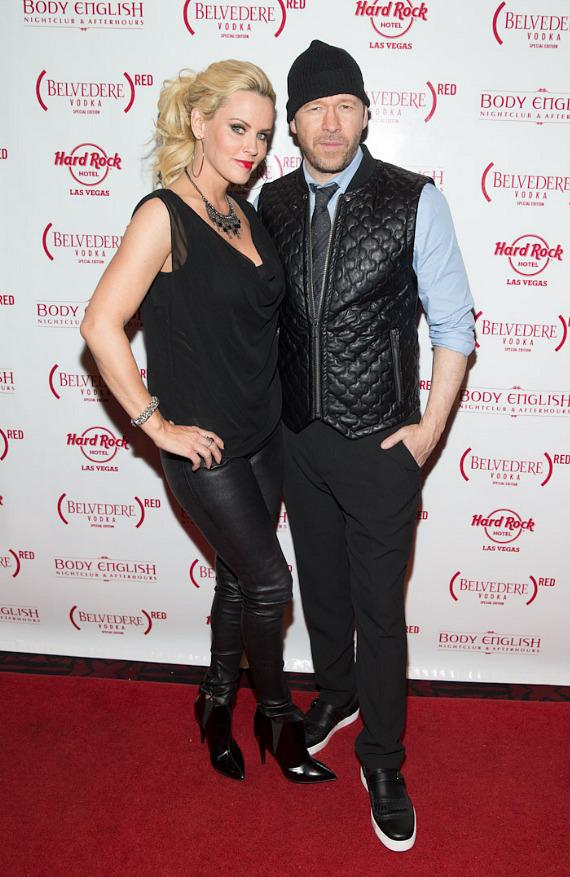Jenny McCarthy and boyfriend Donny Wahlberg on red carpet at Body English at Hard Rock Hotel Las Vegas