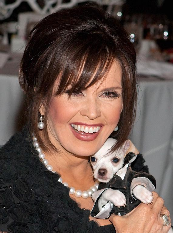 Marie Osmond poses with the Chiguagua from the Fund Raising auction