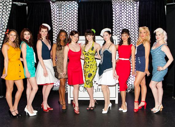 Claire Sinclair with models at Bettie Page Clothing Fashion Show