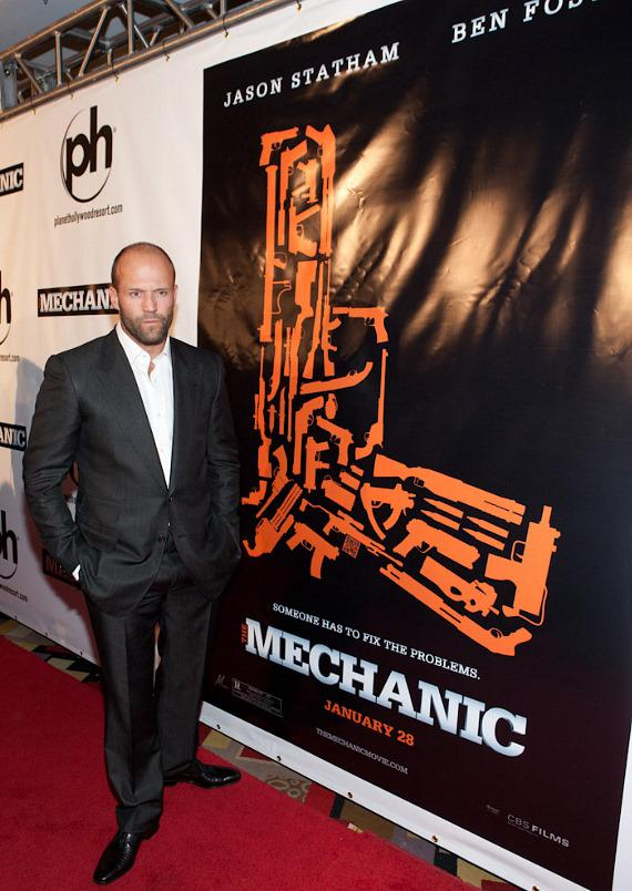 "Jason Statham at ""The Mechanic"" movie premiere at Planet Hollywood"