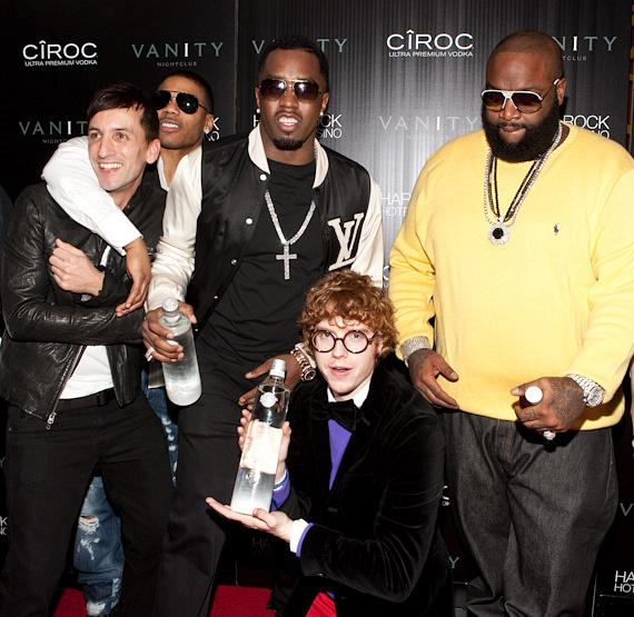 """Clinton Sparks, Nelly, Sean """"Diddy"""" Combs, Andrew """"D.A."""" Wallach of Chester French, Rick Ross"""