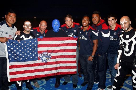 Blue Man Group welcomes USA Sevens Rugby Players and Coaches