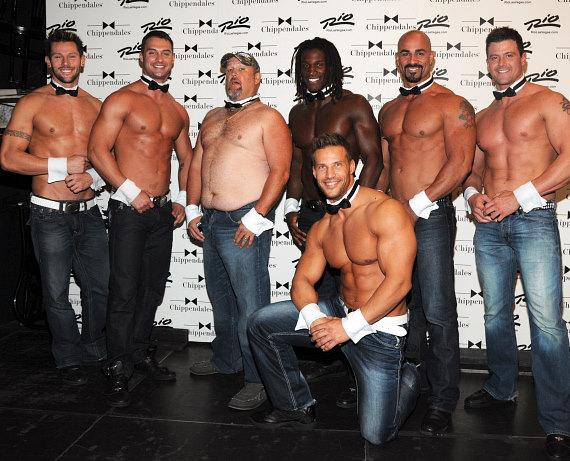Larry The Cable Guy with Chippendales dancers